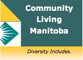 logo of and link to the Community Living Manitoba website