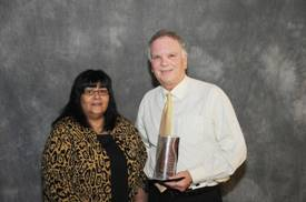 photo of Diversity & Cultural Awareness Award: Judith Hayes, Manitoba Liquor & Lotteries (sponsor) with Gary Maksymyk, Manitoba Hydro